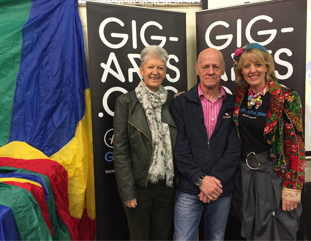 From left to right - Wendy Dawson CEO of Base 33 with Cllr Chris Holliday, Mayor of Witney and Gig-Arts Founder, Abbie Cooke