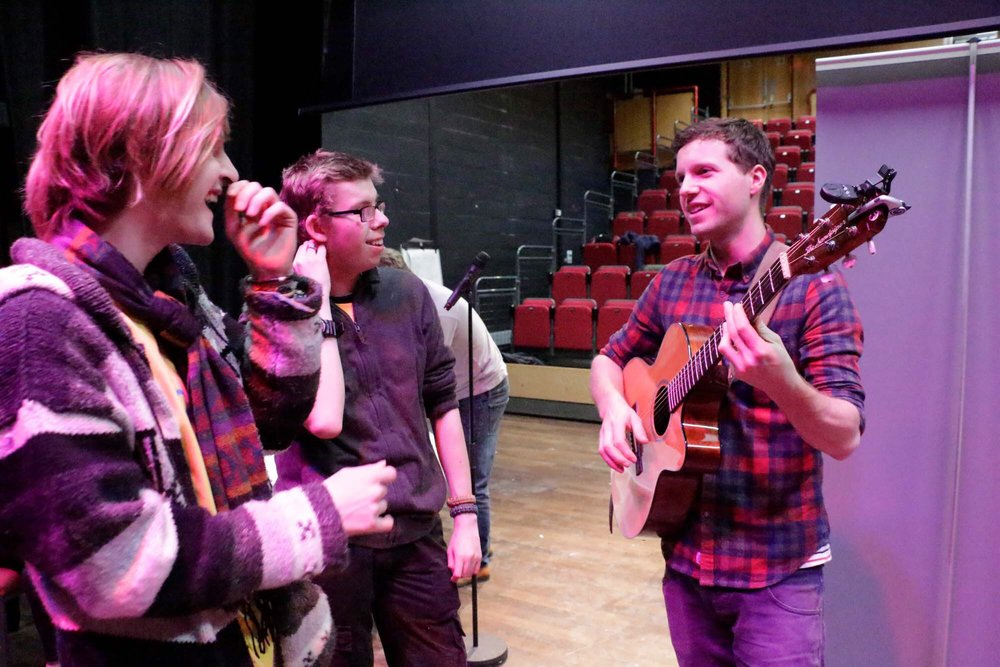Rehearsing for the Gig-Arts Show with students from Banbury College.