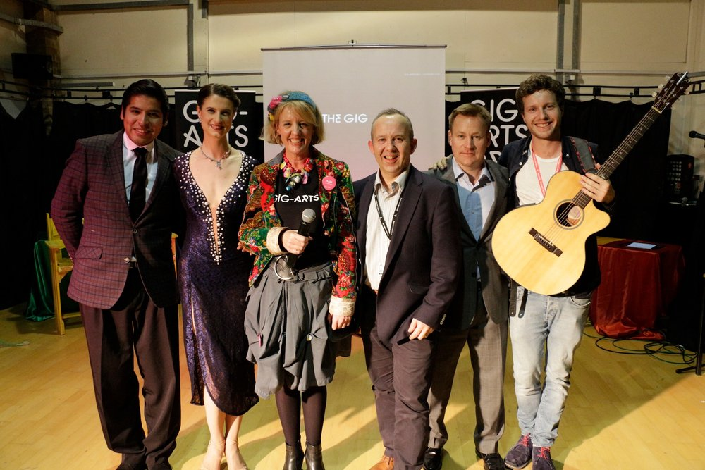 Gig-Arts Team ( left to right) - Tango Dancers Dante & Miriam, Abbie Cooke Founder and CEO of Gig-Arts , Chris Hyde Director at The City of Oxford College, Martin Dare event sponsor and Jem Tyler Head of Music at Gig-Arts.