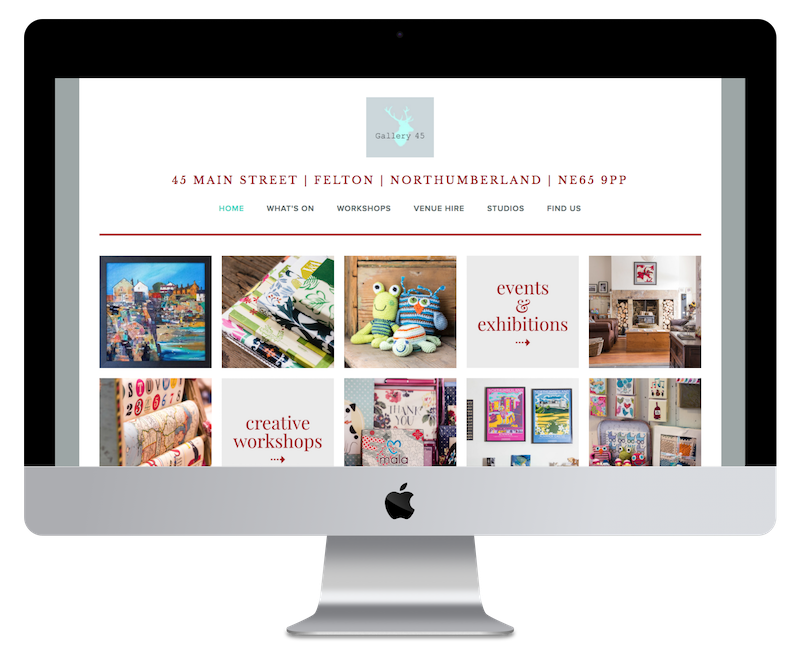 Squarespace web deign for art gallery and shop