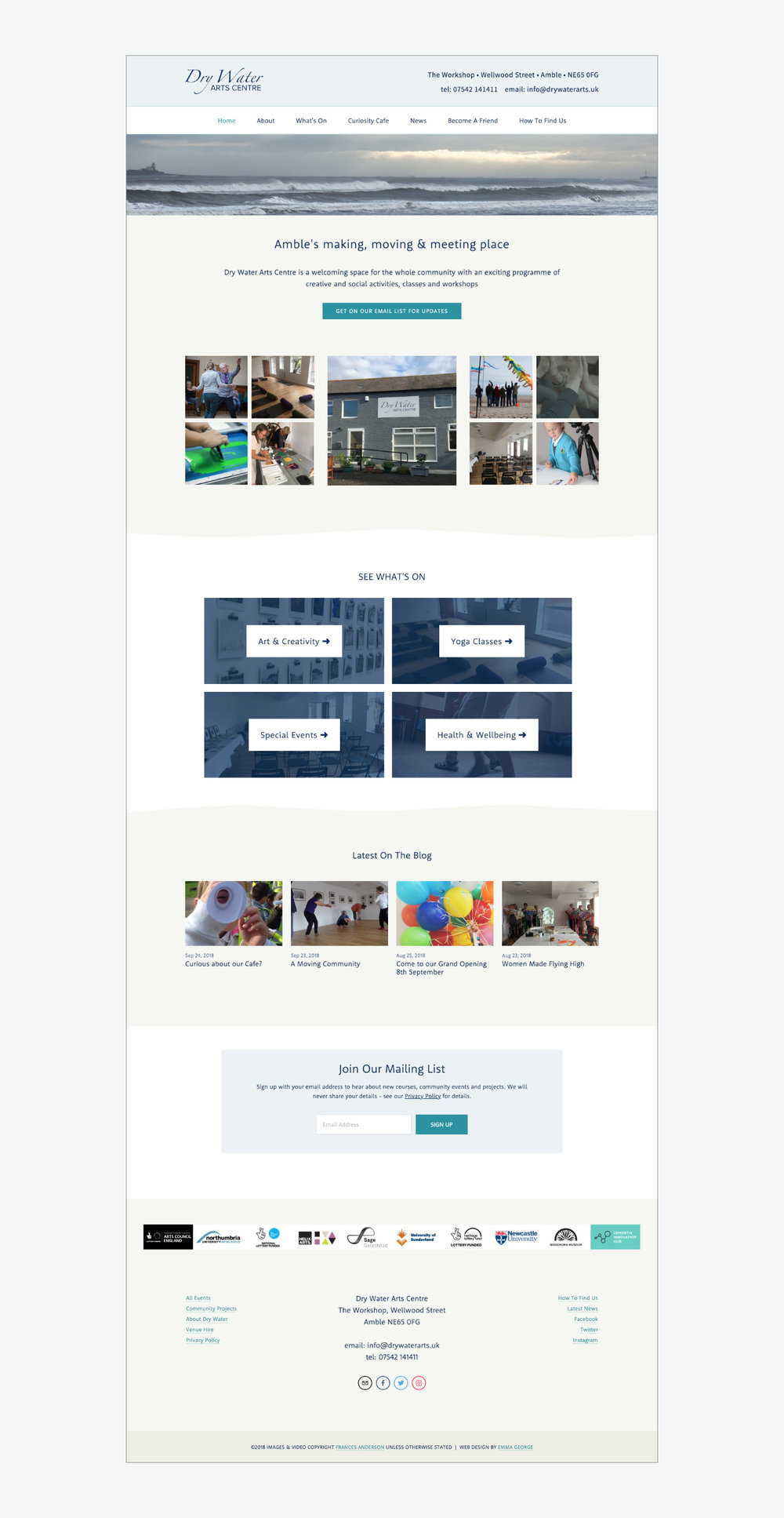 Squarespace website design for new arts centre