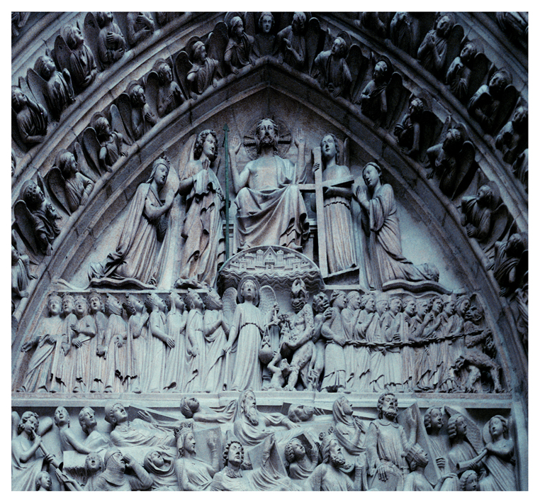 A picture I took of Notre Dame Cathedral in Paris. It's above the front door of the main entrance. In plain sight..Angels and Demons