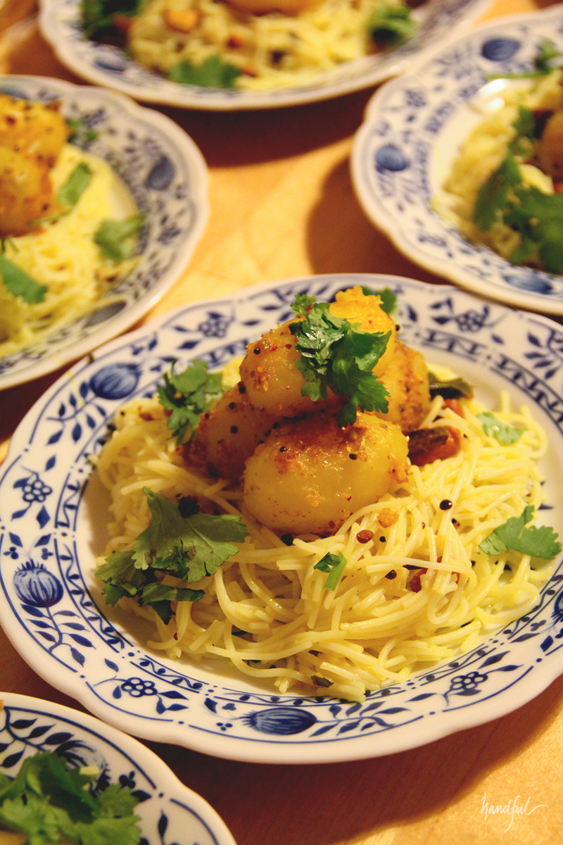 Lemon Rice Noodles with a Spicy Potato Roast