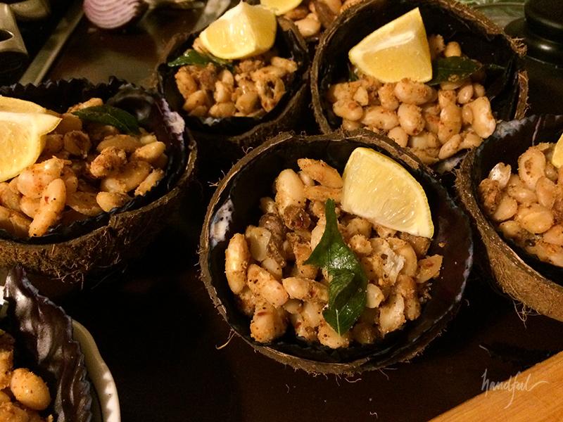 Masala Sundal in coconut shells