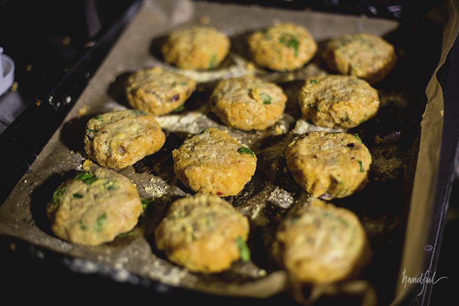 Butternut Squash Tikkis ready for some light roasting.