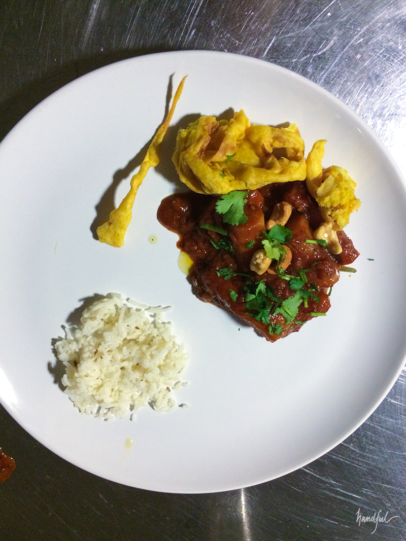 The salsify tamarind bhaaji with parsnip chips and cumin rice