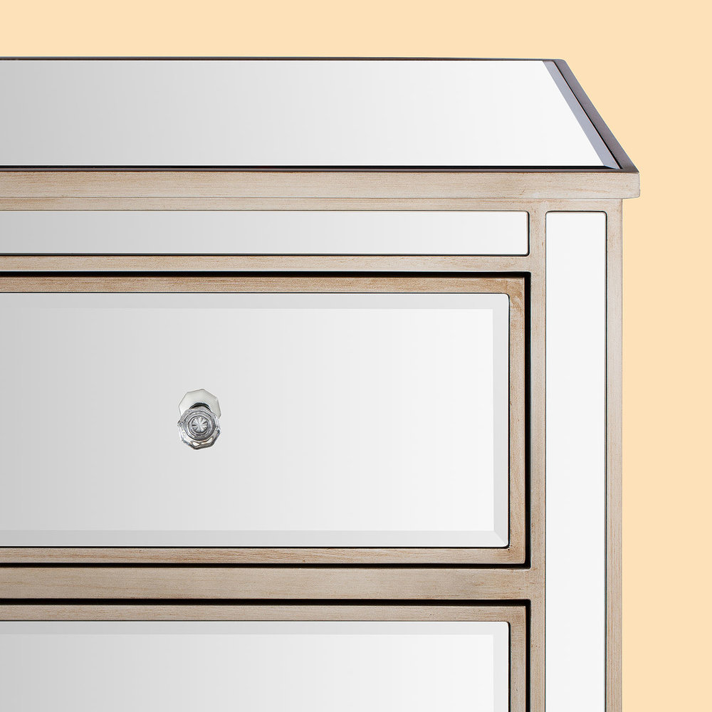 Mirrored drawer chest handle furniture product