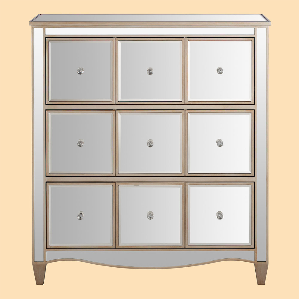 Mirrored drawer chest furniture product