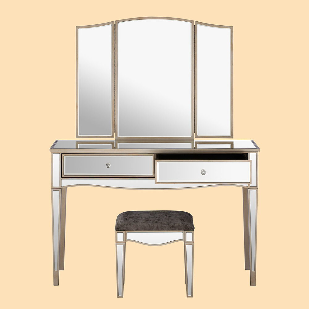 Mirrored dressing table mirror stool furniture product