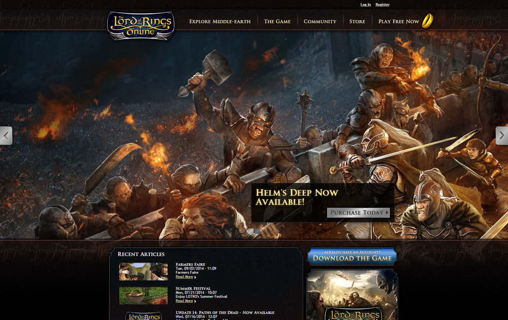 Website content for Lord of the Rings Online adheres to British English in a tone of voice that recalls the iconic epic fantasy storytelling of the book trilogy upon which the game is based. All other copy could be far more succinct. This has made every iteration of LOTRO.com a unique set of challenges, from planning, researching, and writing game guides for new players to enticing and informing potential returning players of new content.