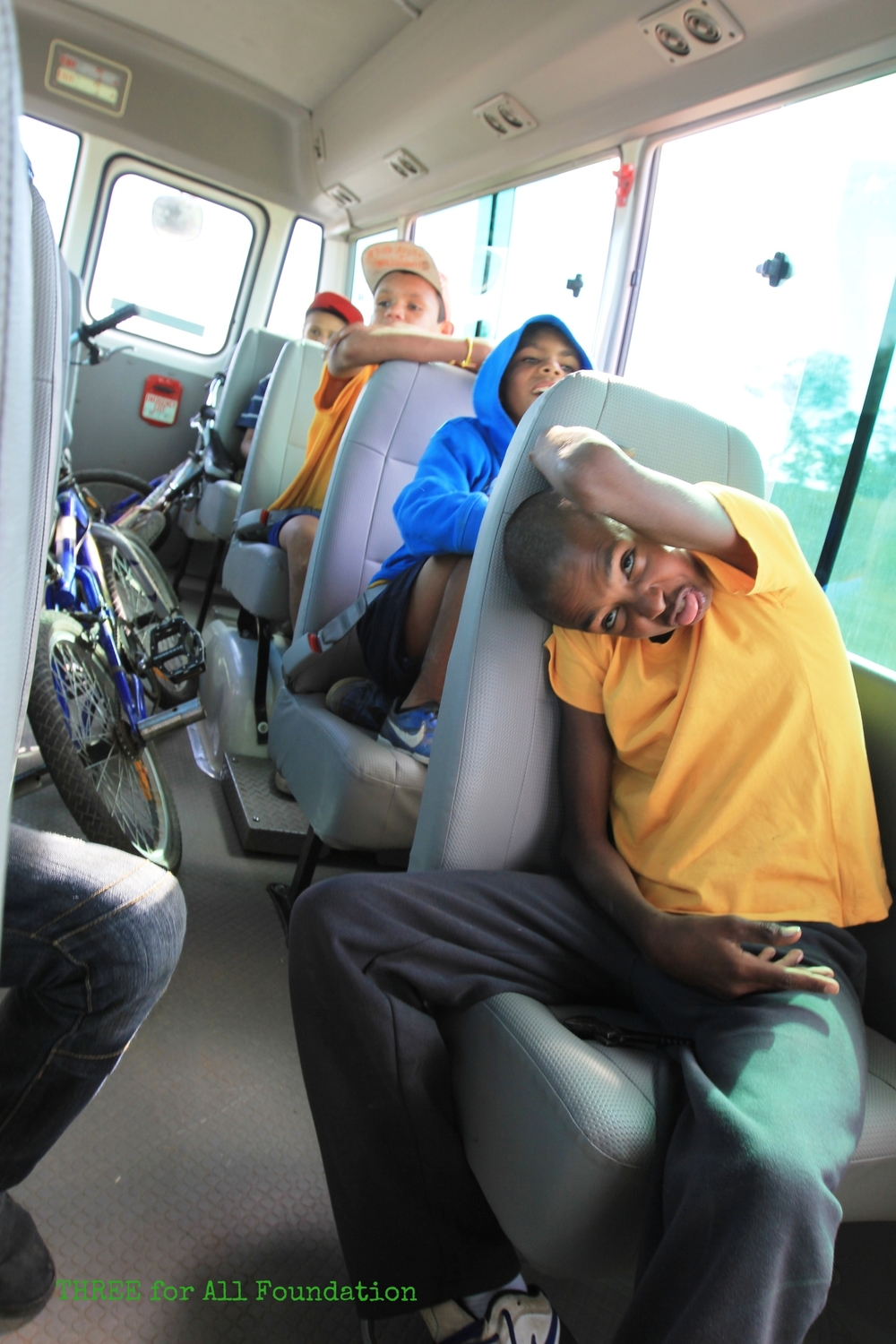 Riding to soccer on the Mildura United bus. THREE helped to source the funds thatfuel and maintain the bus.