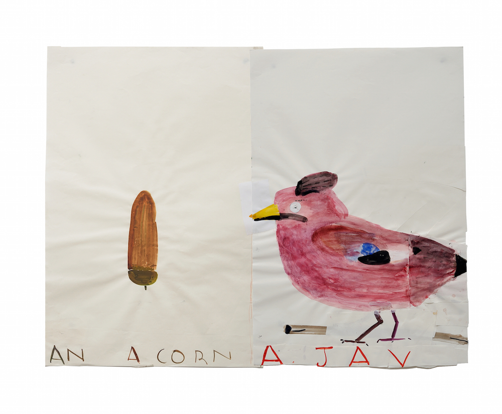 Rose Wylie, Acorn & Jay, 2014, Watercolour and Collage on paper, 84 x 112cm