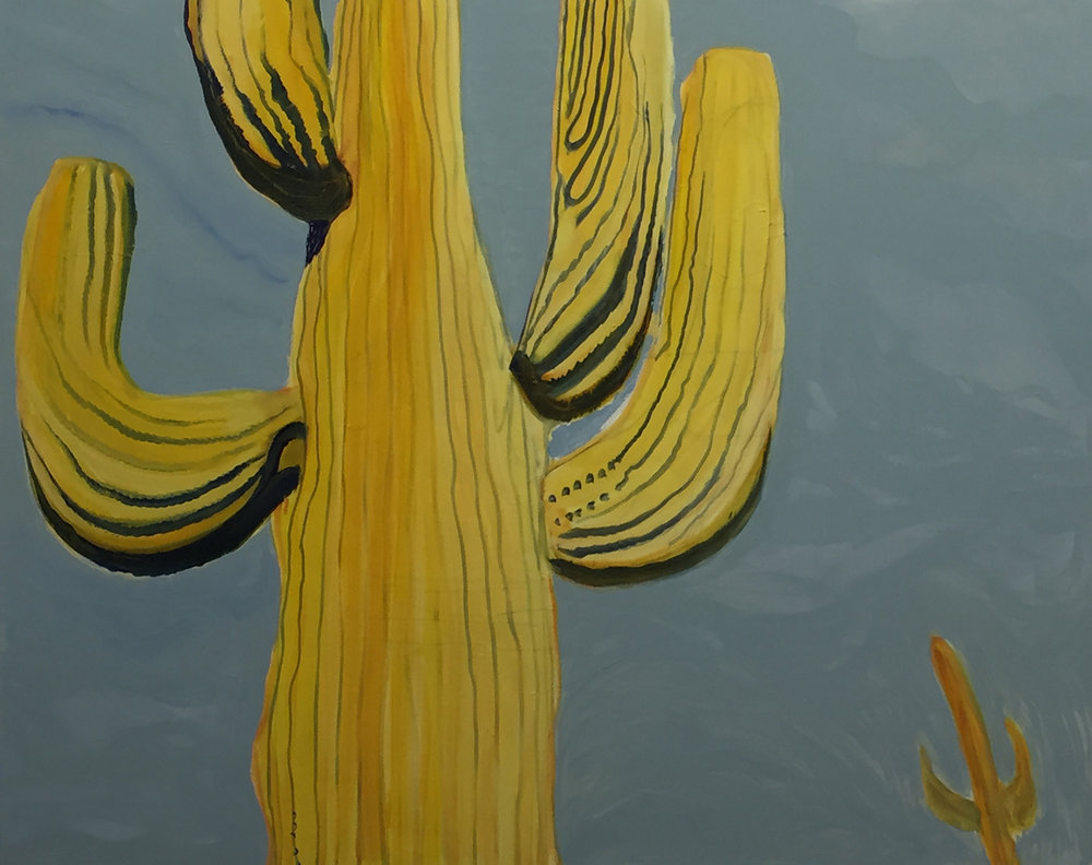 Paresha Amin, Yellow Cactus, Oil on canvas, 120 x 150cm