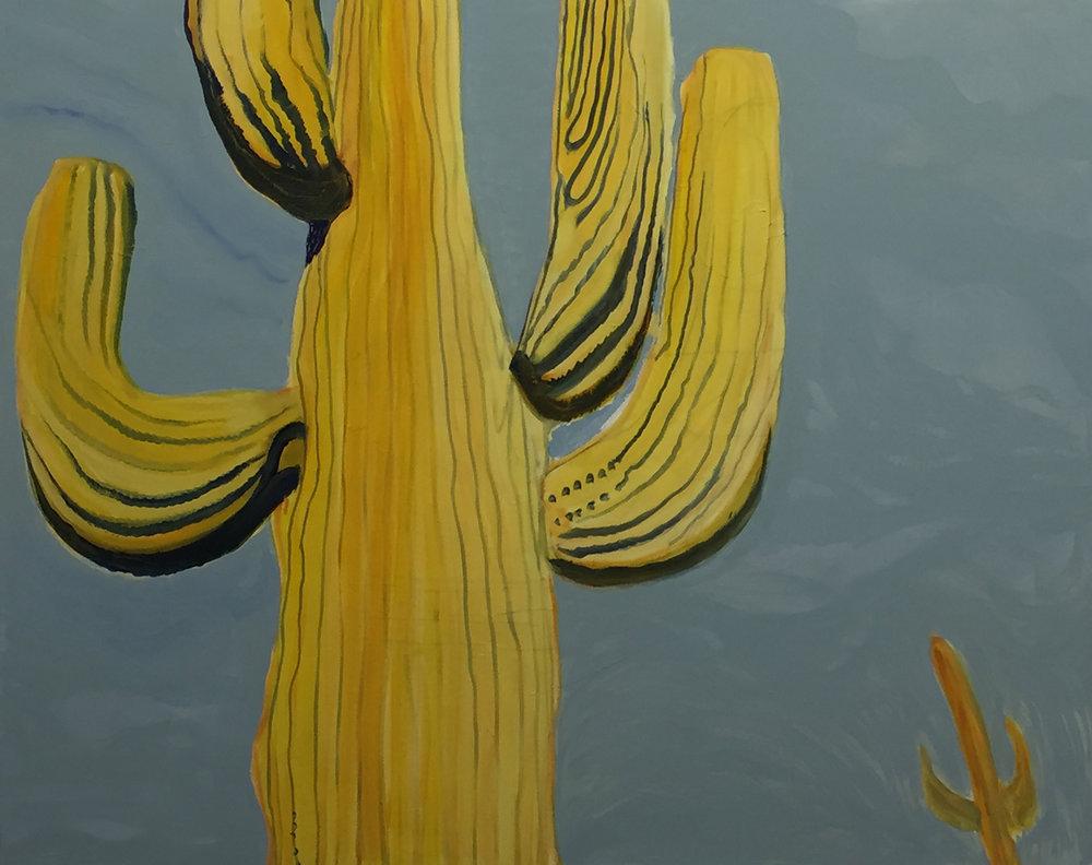 Paresha Amin, Yellow Cactus, Oil on canvas, 120 x 150cm