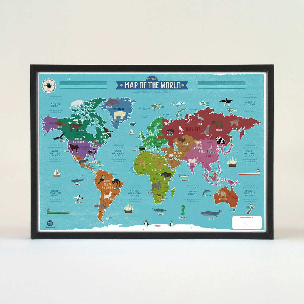 My First World Map Poster Marcus Walters Illustration And Design