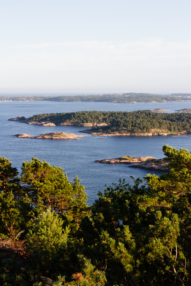 Islands by the port of Kristiansand, from Odderøya island Nature Reserve