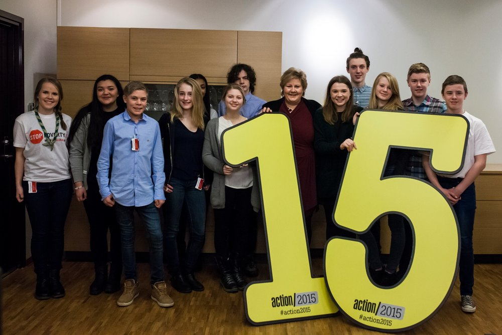 NETTVERKSBYGGING OG LANSERING Action2015 i Norge: Vi samla eit breitt nettverk av miljø- og utviklingsorganisasjonar i den norske delen av den verdsomspennande kampanjen Action2015. Vi stod også for lansering med ungdomsambassadører og statsministeren.