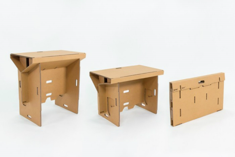 Refold's (surprisingly sturdy!) adjustable height desk is made entirely from cardboard.