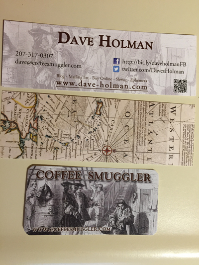 My bookmark/business card and the Coffee Smuggler sticker- soon to plague laptops and water bottles near you.