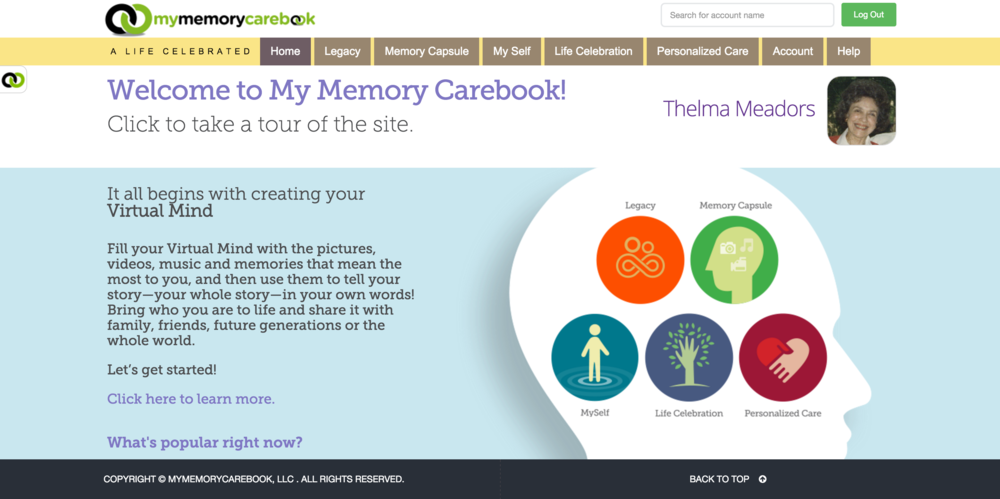 The home page, featuring the virtual mind navigation