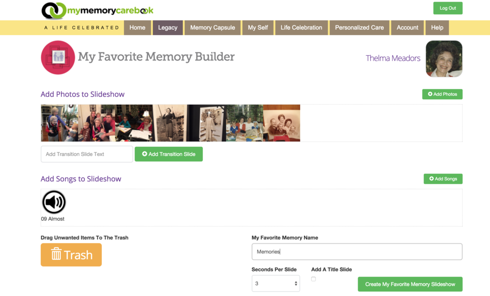 My Favorite Memory Builder facilitates creation of your content with easy to use multi-media mixing controls