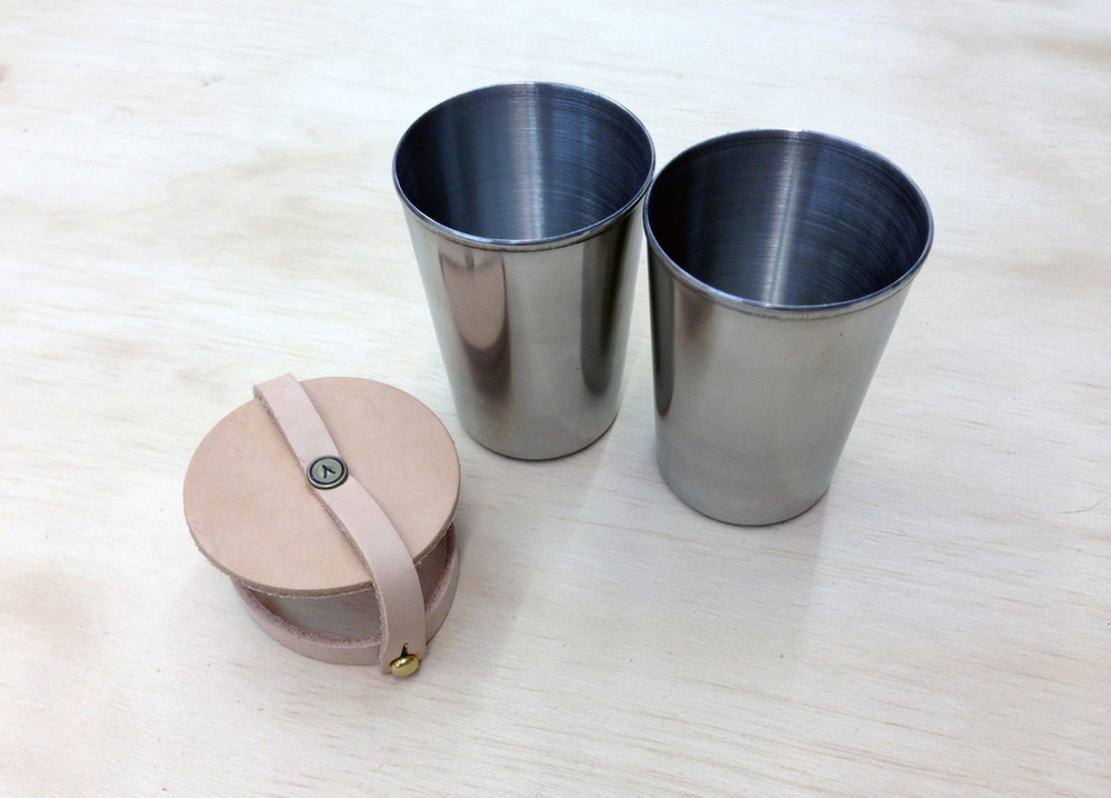 The Perfect Cup Set // Stainless Steel & Leather // Yield Design Co