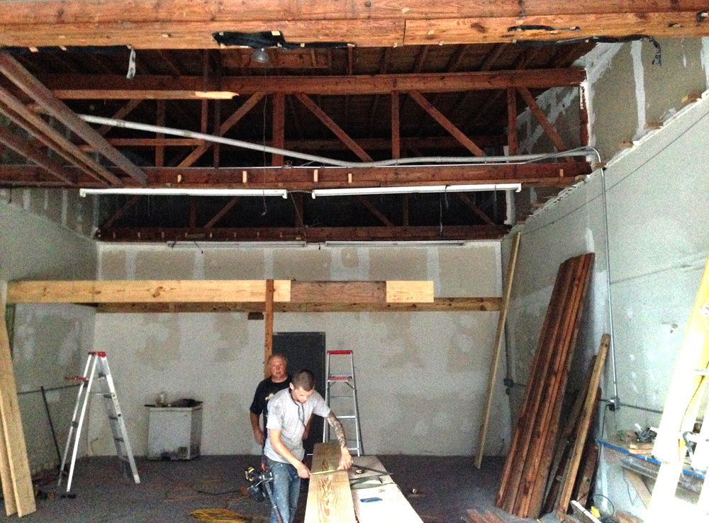 Loft construction. A lot of the wood used was reclaimed from a storage space in the ceiling.
