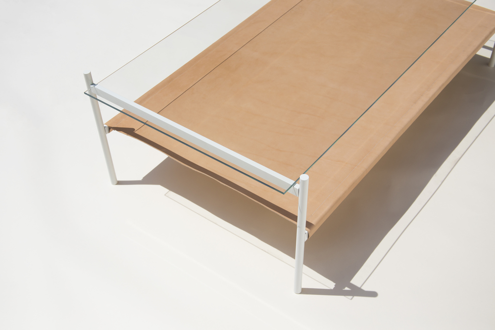 Duotone Rectangular Coffee Table   White Base / Clear Glass / Natural  Leather Sling