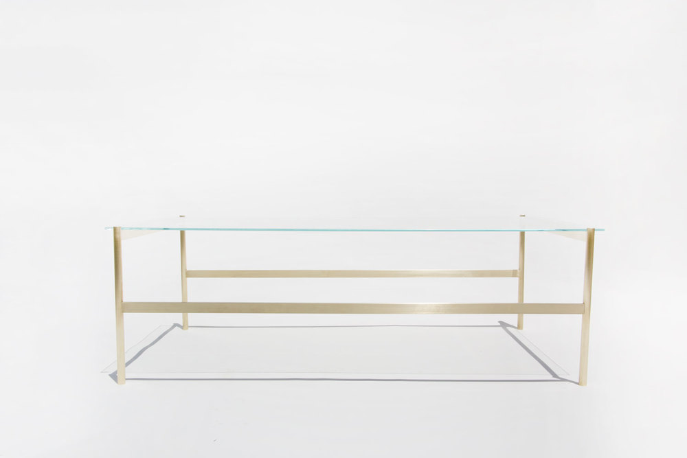 Duotone Rectangular Coffee Table   Brass Base / Clear Glass