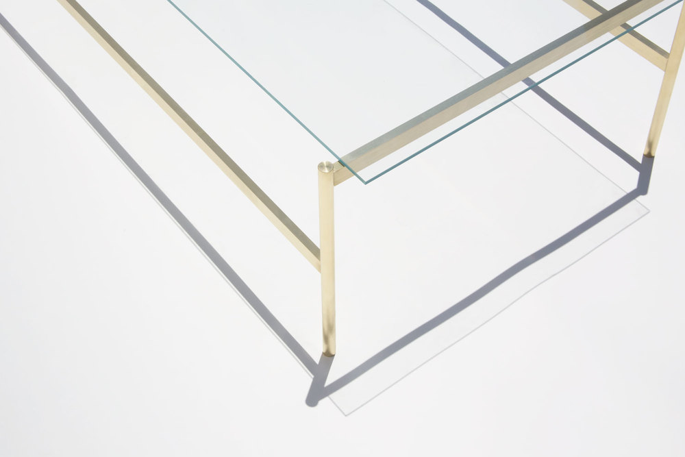 Duotone Rectangular Coffee Table Brass Base Clear Glass YIELD