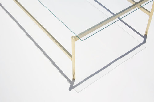 Duotone Rectangular Coffee Table - Brass Frame / Clear Glass — YIELD