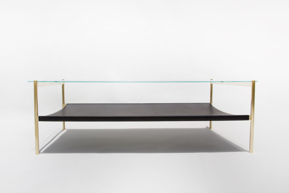 Duotone Rectangular Coffee Table Brass Base Clear Glass
