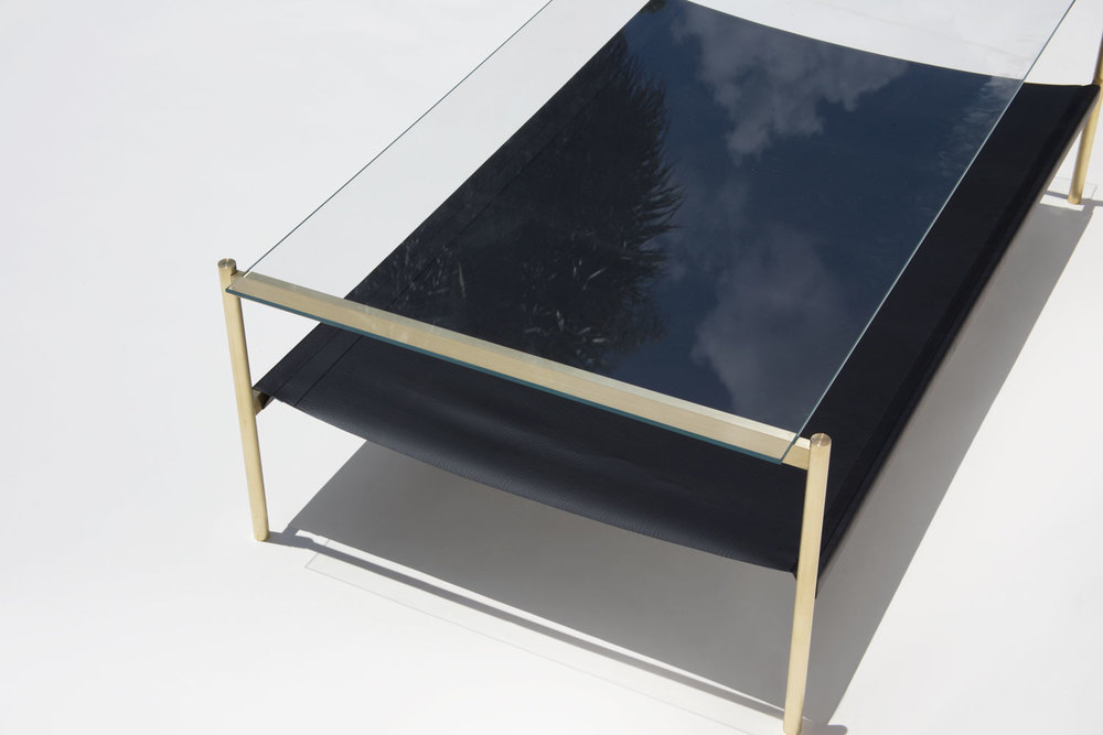 Duotone Rectangular Coffee Table   Brass Frame / Clear Glass / Black  Leather Sling