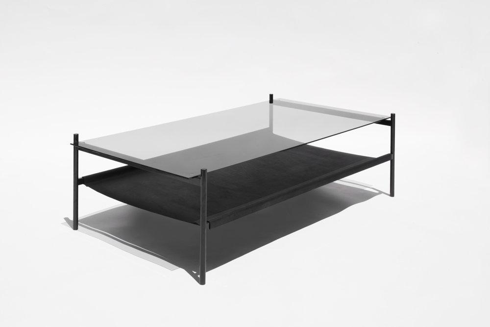 Duotone Rectangular Coffee Table   Black Frame / Smoked Glass / Black  Leather Sling