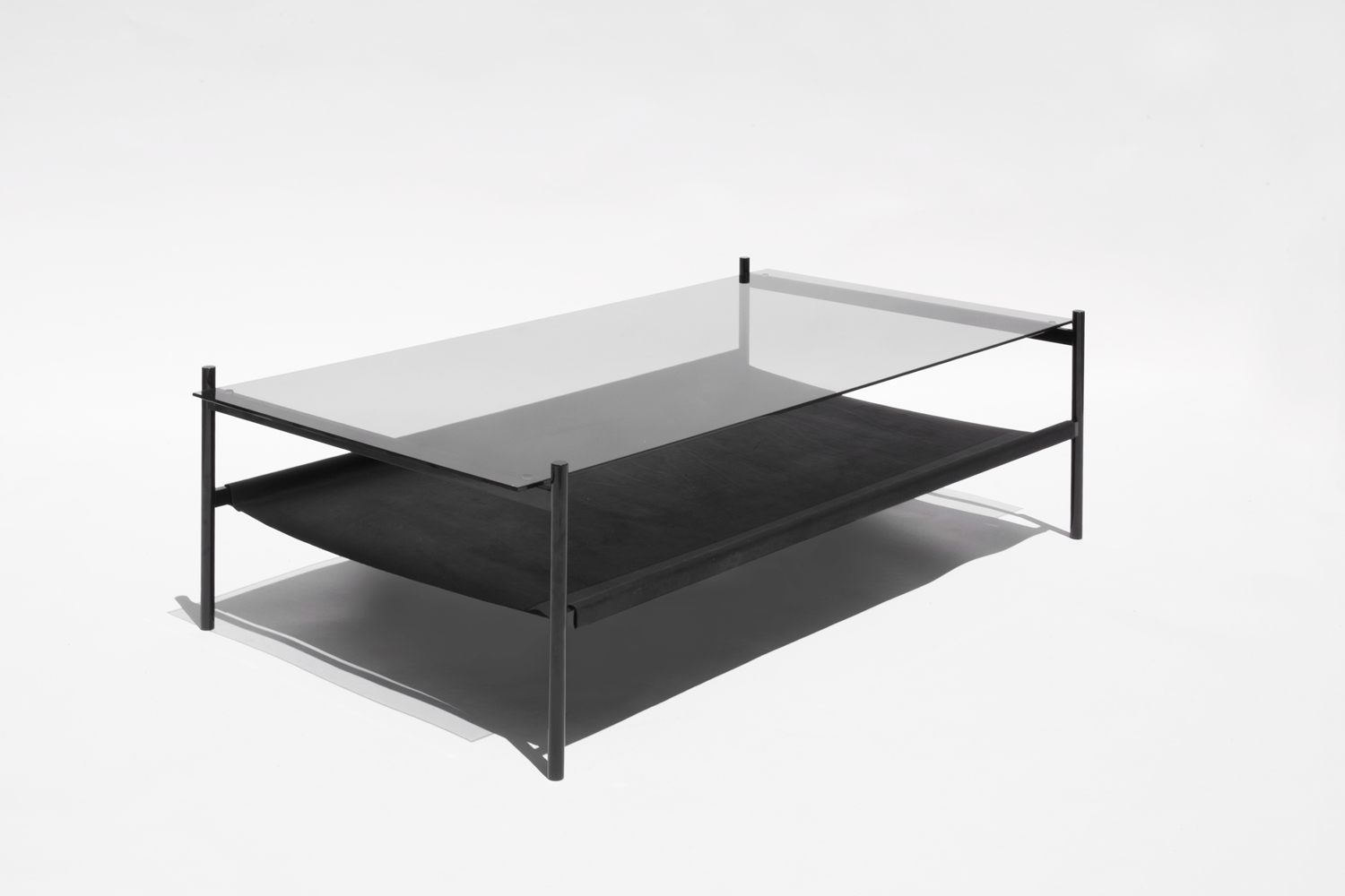 Duotone Rectangular Coffee Table   Black Base / Smoked Glass / Black  Leather Sling
