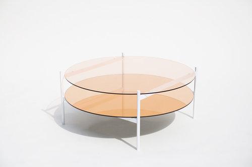 "duotone circular coffee table 35"" - white base / rose glass / rose"