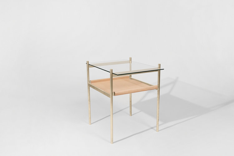 Duotone Rectangular Side Table - Brass Frame / Clear Glass / Natural ...
