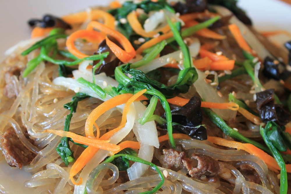 Japchae (Noodles with marinated beef)