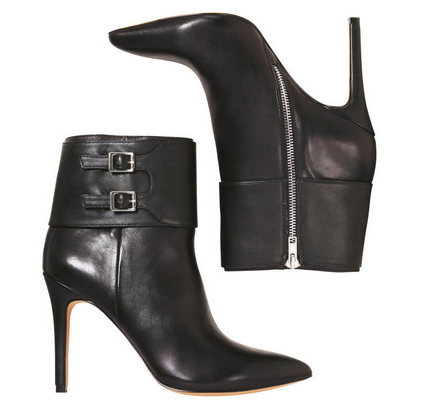 Leather Buckle Boots, $129