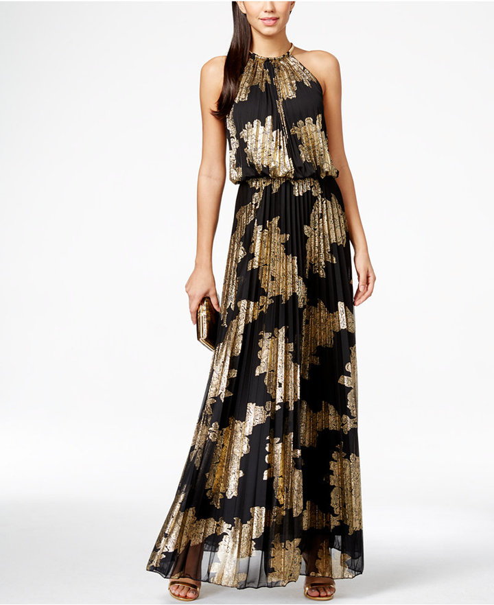 8. MSK - Ringing in the New Year in a more formal setting? This greek goddess inspired maxi with pleats and metallic foil print is guaranteed to make a fancy statement.