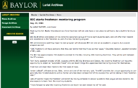 BIC starts freshman mentoring program A brief article about a mentoring program at Baylor University
