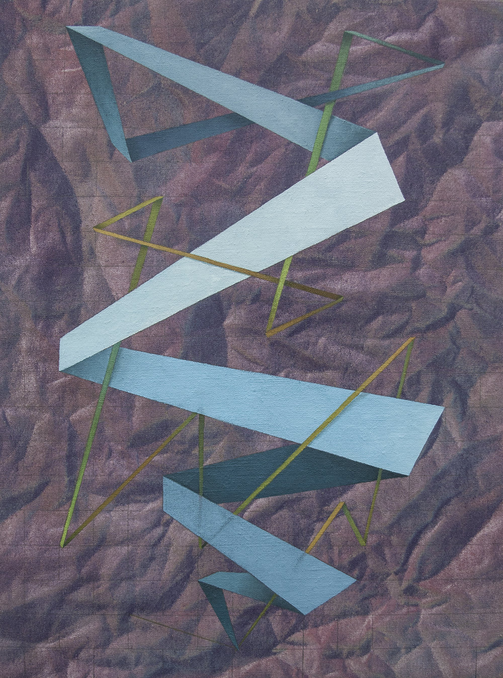 "not a straight line, but a zigzag, 18"" x 24"", oil, wax, acrylic + graphite on linen, 2016"