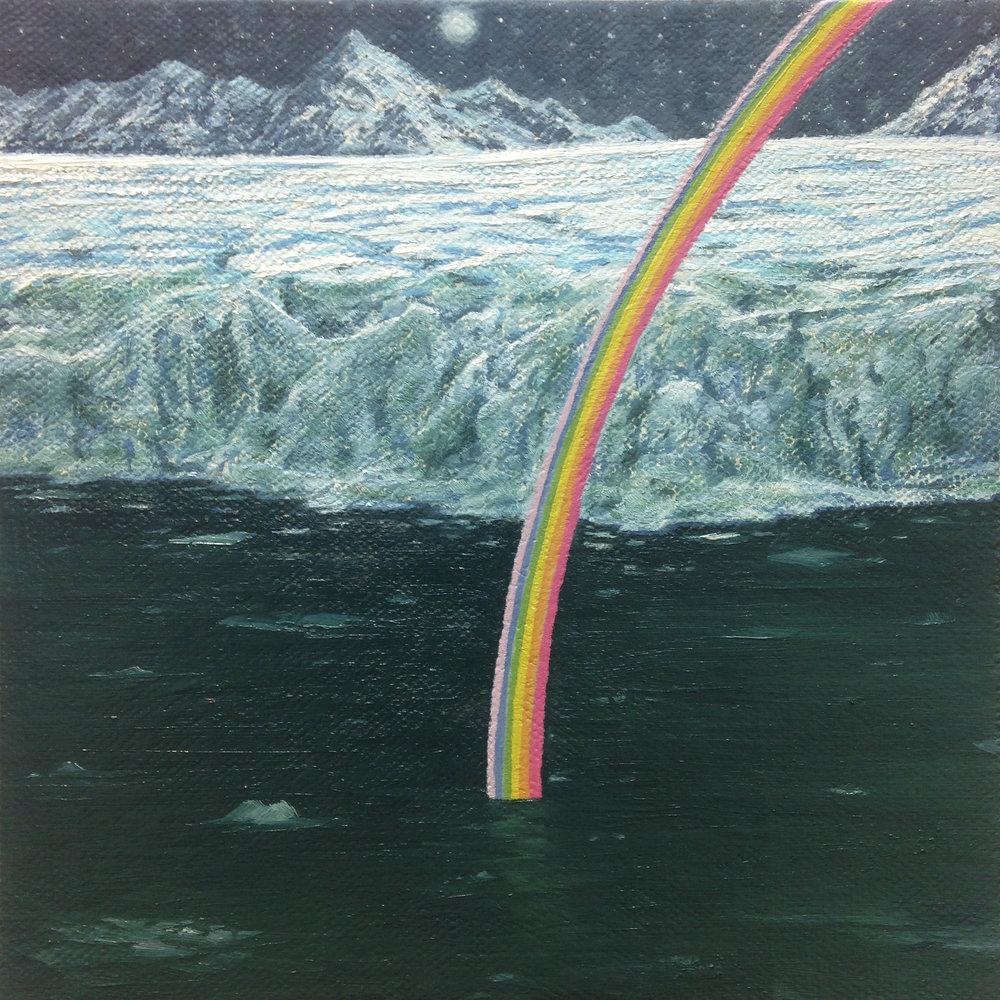"full moon, frozen rainbow over Raudfjordbreen, 6"" x 6"", oil on linen over panel, 2016"