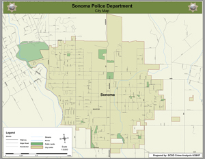 map of Sonoma police jurisdiction