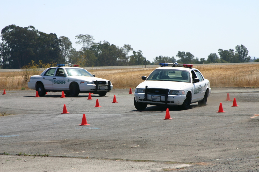 Deputies hone their driving skills at an EVOC training course.