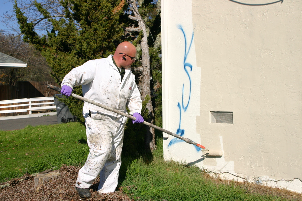 Community Service Officer helps clean up our community from unsightly graffiti.