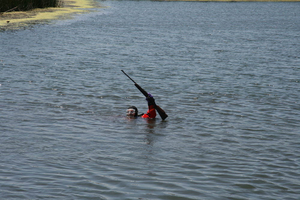 SCSO diver successfully recovers evidence from the river.
