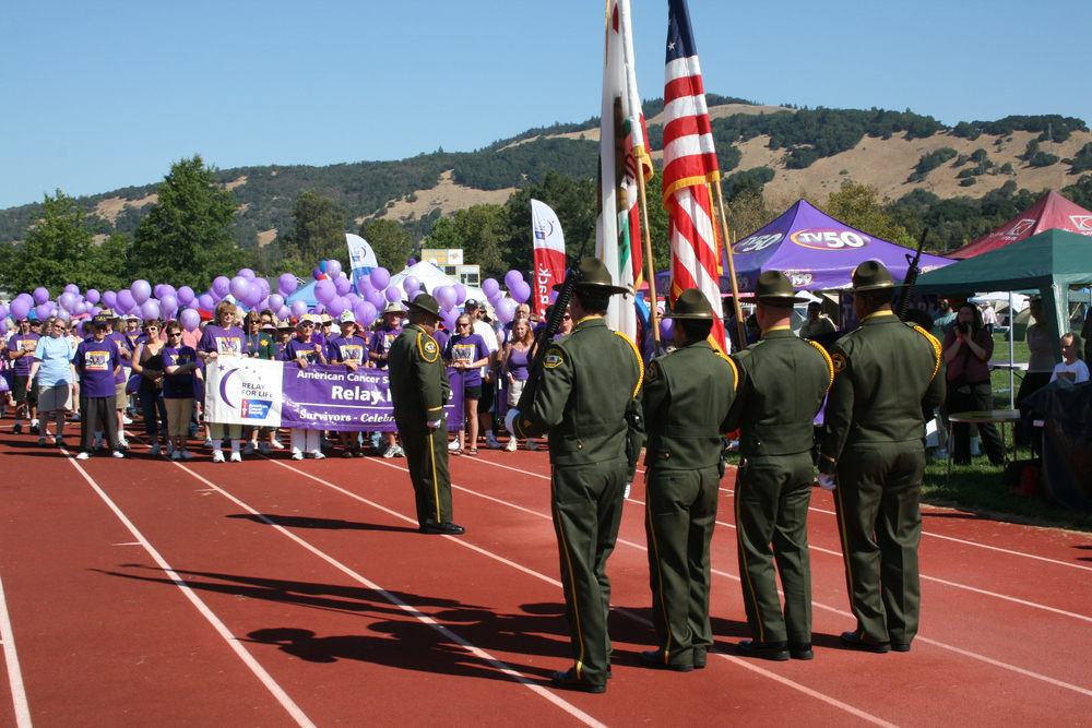 SCSO Honor Guard team participating in Relay for Life event.