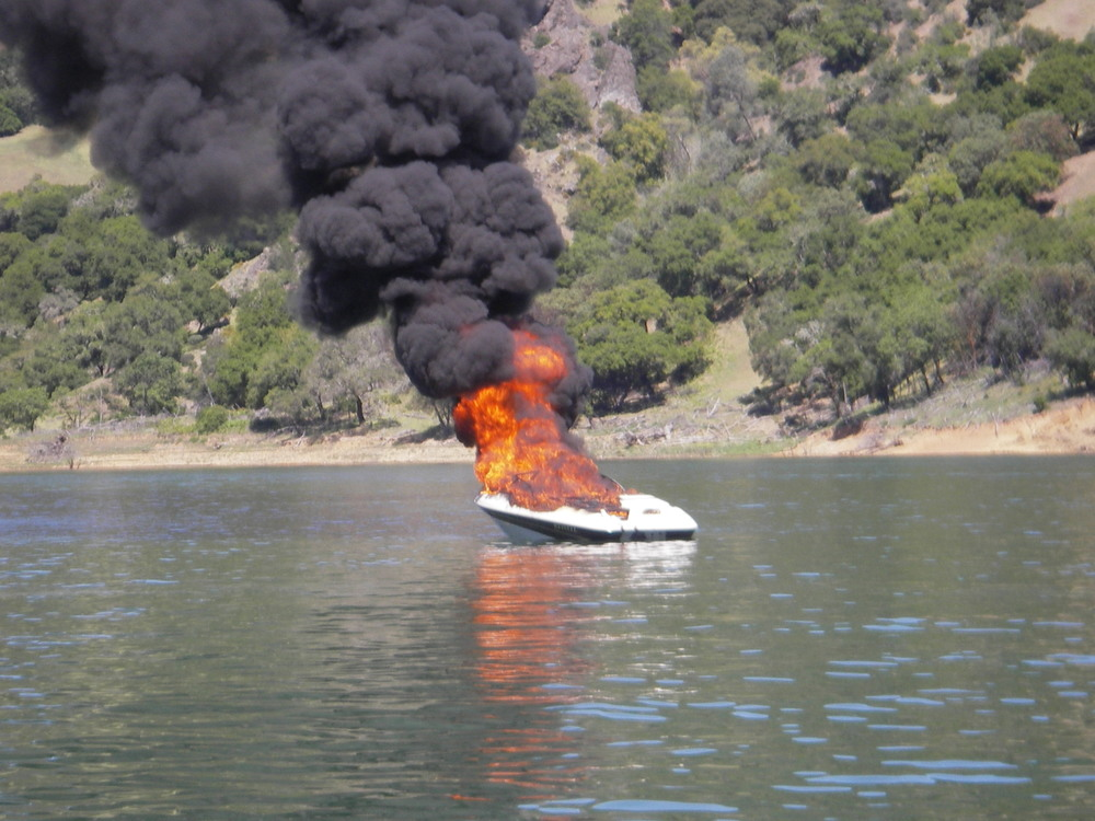 The SCSO Marine Unit serves the community at tragic losses such as this burning boat at Lake Sonoma.