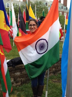 Picture of Avan Antia with an Indian flag.